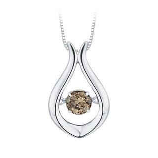 10K White Gold 1/4ct TDW Brown Dancing Diamond Fashion Pendant (Brown,I1)