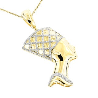Luxurman 10k Gold 1/2ct TDW Diamond Cleopatra Pendant Necklace (G-H, SI1-SI2)