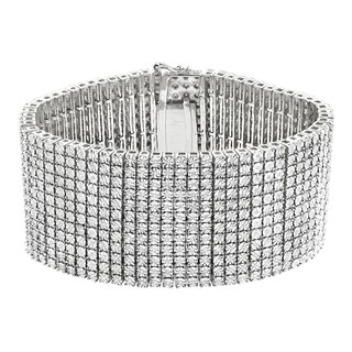 Luxurman Sterling Silver Men's 2 1/6ct TDW Diamond Cuff Bracelet (H-I, I1-I2)
