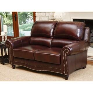 Abbyson Living Barkley Burgundy Top-Grain Leather Loveseat