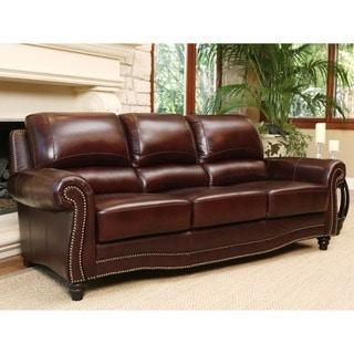 Abbyson Barkley Burgundy Top-Grain Leather Sofa