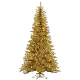 """6.5' x 42"""" Gold/Silver Tinsel Tree with 450 Clear Mini Lights"""