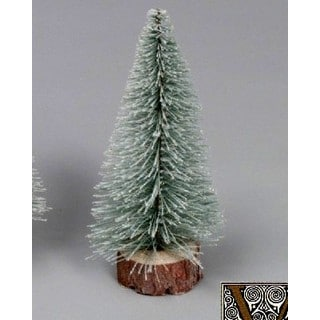 "10"" Flocked Village Tree with Wooden Base"