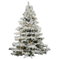 "4.5' x 44"" Flocked Alaskan Tree with 300 Warm White LED Lights"
