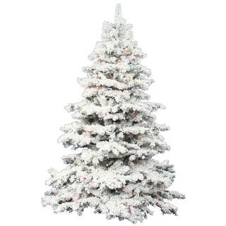 "5.5' x 49"" Flocked Alaskan Tree with 450 Multi-Colored Italian LED Lights"