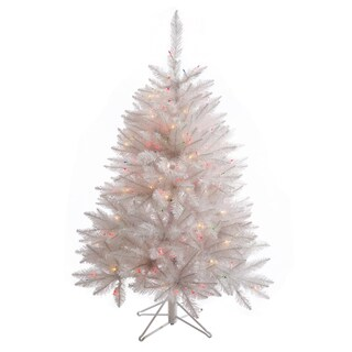 "4.5' x 36"" Sparkle White Spruce Tree with 200 Multi-Colored LED Lights"