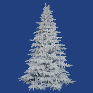 """4.5' x 46"""" Flocked White Spruce Tree with 498 Tips"""