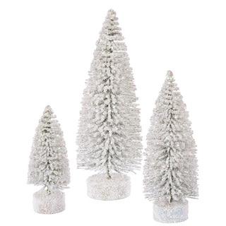 """5""""-7""""-9"""" White Snow Oval Tree Set"""