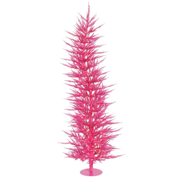 5 X27 Pre Lit Sparkling Whimsical Pink Artificial Christmas Tree Clear Lights