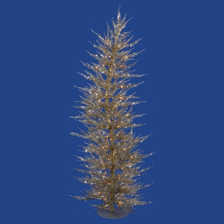 "6' x 26"" Champagne Laser Tree with 150 Clear Mini Lights and 1262 PVC Tips"