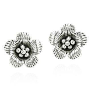 Handmade Flower Thai Hill Tribe Fine Silver Post Earrings (Thailand)