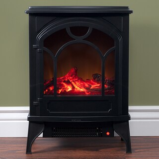 Electric Fireplace-Indoor Freestanding Space Heater with Faux Log and Flame Effect-Warm Classic Style by Northwest
