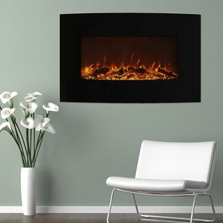 Northwest 36 inch Curved Color Changing Fireplace Wall Mount Floor Stand