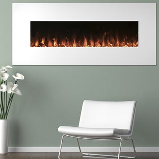 Electric Fireplace Wall Mounted, Color Changing LED Flame U0026 Remote, 50  Inch, By