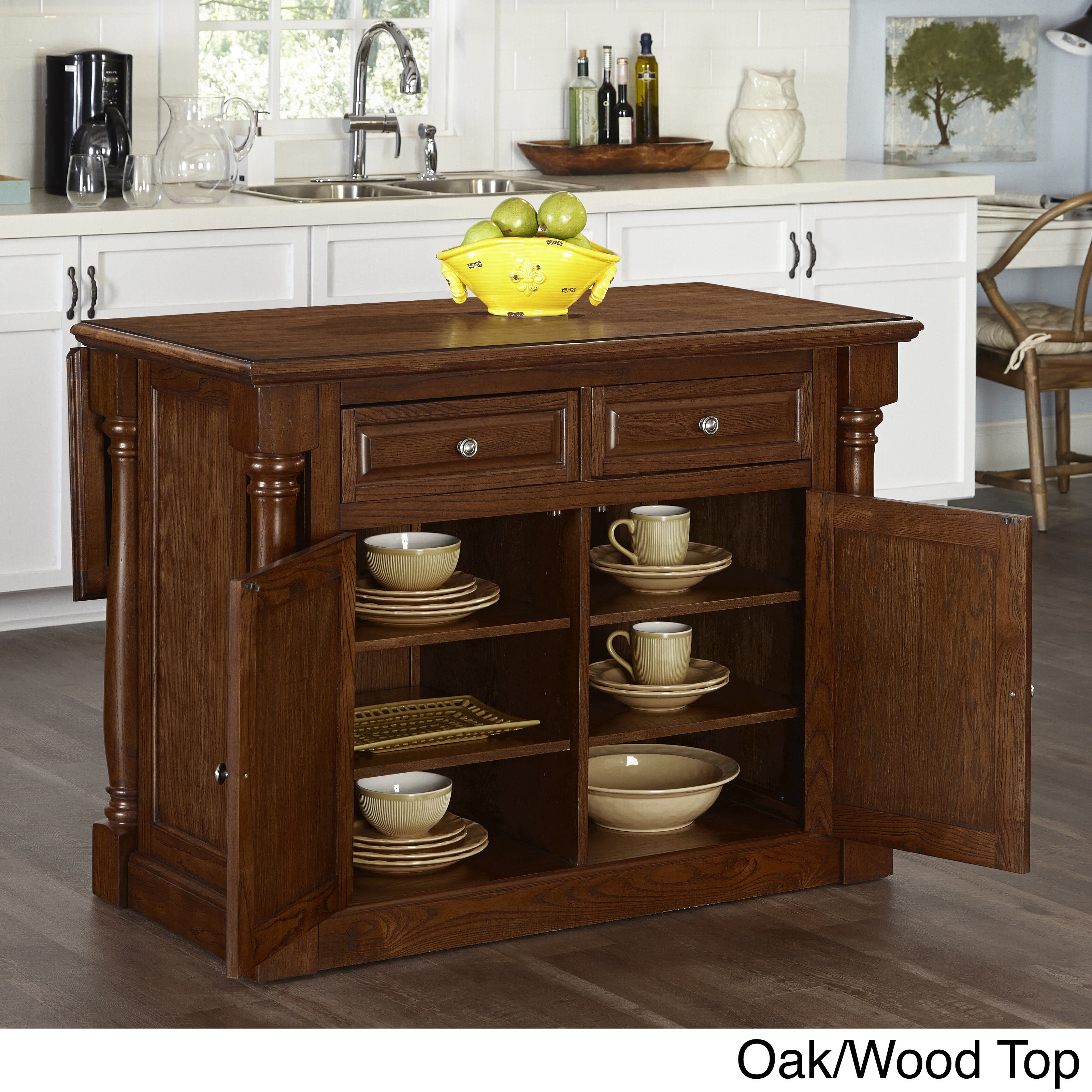 Monarch Kitchen Island and Two Stools by Home Styles (Oak...
