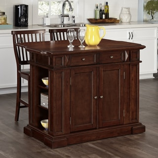 Home Styles Americana Cherry Kitchen Island and Two Stools