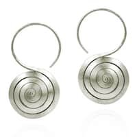 Handmade Spiral Rolled Hook Hoop Hill Tribe Silver Earrings (Thailand)