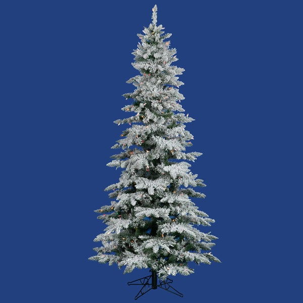 6.5' Pre-Lit Snow Flocked Layered Utica Slim Christmas Tree - Multi