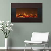 Northwest Mahogany 36-inch Fireplace with Wall Mount and Floor Stand