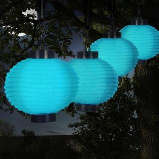 pure garden outdoor solar chinese lanterns led set of 4 blue - Outdoor Solar Lanterns