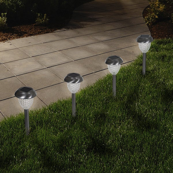 5 Pathway Lighting Tips Ideas Walkway Lights Guide: Shop Pure Garden LED Solar Honeycomb Glass Pathway Lights