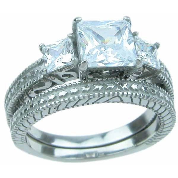 Stainless Steel High Polish Princess Cut CZ 2.25 TCW Antique Style Wedding Ring Set - Silver