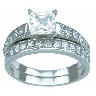 Stainless Steel High Polish Princess Cut CZ 2.25 TCW Prong Setting Classic Wedding Ring Set
