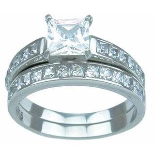 Stainless Steel High Polish Princess Cut CZ 2.25 TCW Prong Setting Classic Wedding Ring Set