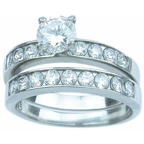 Stainless Steel High Polish Round Cut CZ 1.25 TCW Classic Wedding Ring Set