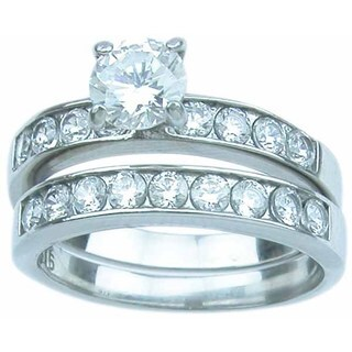 Stainless Steel High Polish Round Cut CZ 1.25 TCW Classic Wedding Ring Set