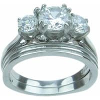 Stainless Steel High Polish Round Cut CZ 2 TCW Three Stone Wedding Ring Set - Silver