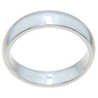 Sterling Silver 4.5mm Plain Thin High Polish Wedding Band (5 options available)