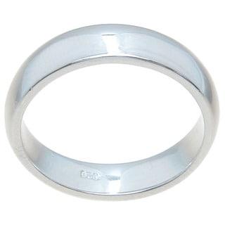 Sterling Silver High Polish 4.5mm Plain Thin Wedding Band