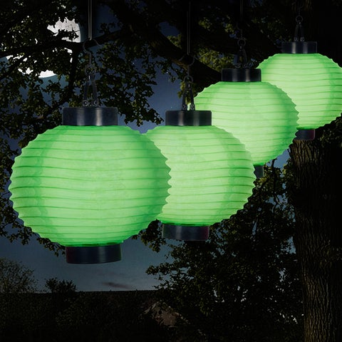 Trademark Pure Garden 4-piece Green Nylon Solar LED Outdoor Chinese Lanterns Set