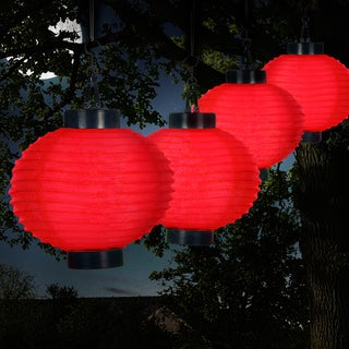 Pure Garden Outdoor Solar Chinese Lanterns - LED - Set of 4 - Red