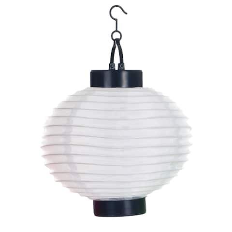 Pure Garden Outdoor Solar LED White Chinese Lanterns (Set of 4)