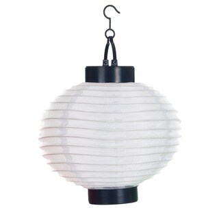 Pure Garden Outdoor Solar LED White Chinese Lanterns (Set of 4)