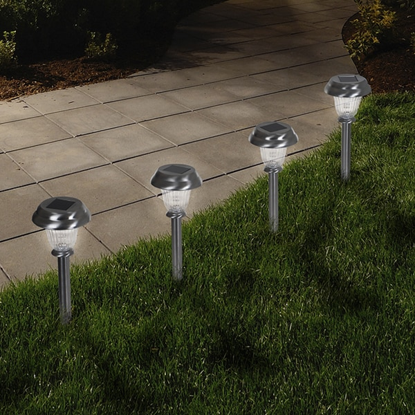 Shop Pure Garden LED Solar Classic Glass Pathway Lights  Set of 6  On Sale  Free Shipping On
