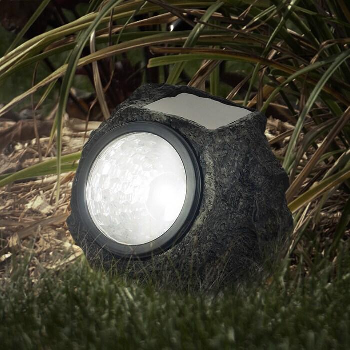 Trademark Pure Garden LED Solar Rock Landscaping Lights -...