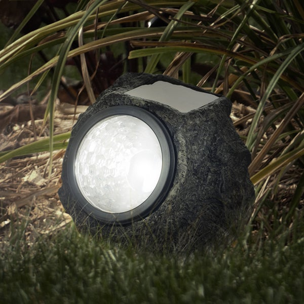pure garden set of 8 solar led rock landscaping lights. Black Bedroom Furniture Sets. Home Design Ideas
