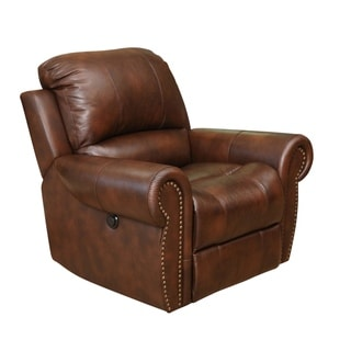 Abbyson Sterling Brown Top Grain Leather Power Reclining Armchair