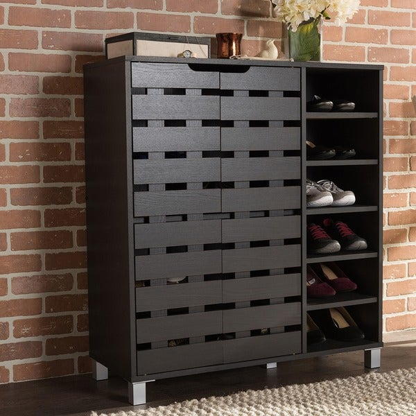 baxton studio shirley contemporary wood 2 door shoe cabinet with open shelves free shipping. Black Bedroom Furniture Sets. Home Design Ideas