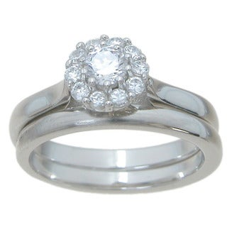 Sterling Silver High Polish Halo Setting Round Cut CZ 1/2 TCW Vintage Style Engagement Ring Set