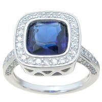 Sterling Silver High Polish Princess Cut 3.5 TCW Sapphire Cocktail Ring