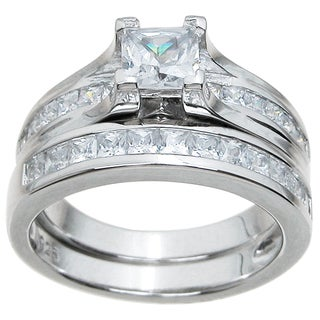Sterling Silver High Polish Princess Cut CZ 1.5 TCW Contemporary Style Bridal Ring Set