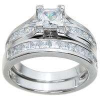 Sterling Silver High Polish Princess Cut CZ 1.5 TCW Contemporary Style Bridal Ring Set