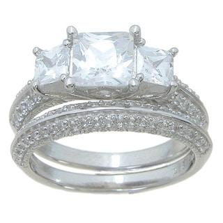 Sterling Silver High Polish Princess Cut CZ 3 TCW Three Stone Classic Style Wedding Ring Set