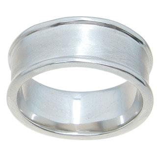 Sterling Silver High Polish Rhodium Finish 9mm Beveled Wedding Band