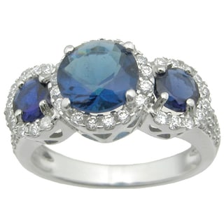 Sterling Silver High Polish Round Cut 3.3 TCW Three Stone Vintage Style Sapphire Bridal Ring