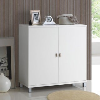 Baxton Studio Marcy Contemporary White Wood Storage Sideboard Cabinet